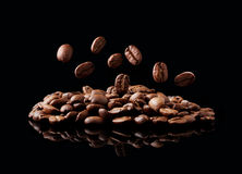 Falling coffee grain Stock Photography