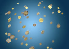 Falling coins Stock Images