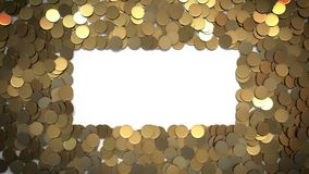 Falling Coins with Alpha Matte Pass forming Rectangular Spot for Your Sign stock video