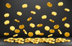 Falling coins, falling money, flying gold coins, golden rain. Jackpot or success concept. Modern background. Vector illustration stock illustration