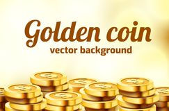 Falling coins, falling money, flying gold coins, golden rain. Jackpot or success concept. Modern background. Vector illustration royalty free illustration