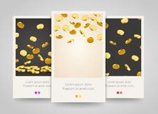 Falling coins, falling money, flying gold coins, Jackpot or success concept. Poster, flyer or ticket design. Stock Photos