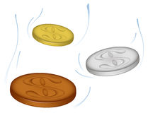 Falling coins. Golden, silver and copper coins falling and soaring in the air Royalty Free Stock Photography