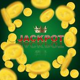 Falling coins on green background with Jackpot word. Vector casino background. Royalty Free Stock Photography