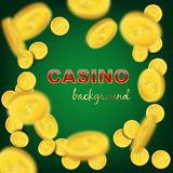 Falling coins on green background. Vector casino background. Royalty Free Stock Photos