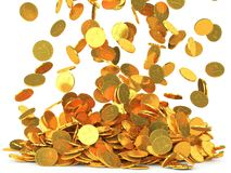 Falling coins  on white background Royalty Free Stock Images