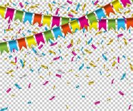 Falling color confetti with flags on transparent background. Vector holiday illustration. Falling color confetti with flags on transparent background. Vector Royalty Free Stock Photos