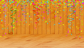 Falling color confetti in wooden room Royalty Free Stock Images