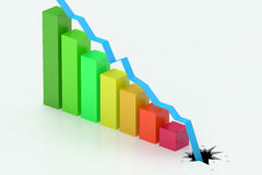 Falling colored bar chart Royalty Free Stock Photos