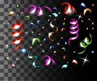 Falling colorful confetti and colorful ribbons christmas decorations isolated on the transparent background website page and mobil. E app design vector illustration