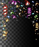 Falling colorful confetti and colorful ribbons christmas decorations isolated on the transparent background website page and mobil. E app design royalty free illustration