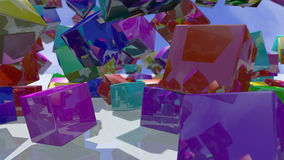 Falling colorful cube blocks. 3D rendering. 3d rendering of colorful particles blocks. A close up of cube shapes in a variety of colors falling down on a white Royalty Free Illustration