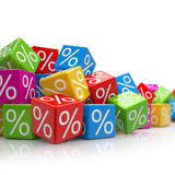 Falling colorful cubes with percent signs Royalty Free Stock Image