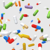 Falling colorful pills - 3D illustration Royalty Free Stock Images