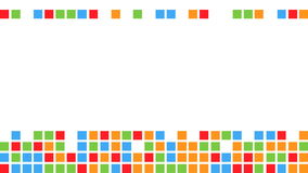 Falling colorful squares making a few rows with free space on the top stock footage