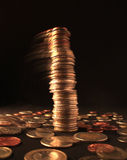 Falling column of different coins Stock Photo