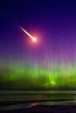 Falling comet. And Aurora Borealis Royalty Free Stock Photos