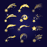 Falling comets or golden shooting stars Royalty Free Stock Photos