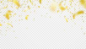 Falling confetti  border background. Shiny gold flying tinsel for party Stock Photos