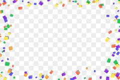 Falling confetti isolated white transparent background. Abstract design element festive party, Christmas holiday, New. Year celebration. Bright birthday royalty free illustration