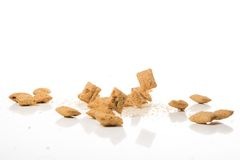 Falling cookies on white background Stock Image