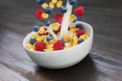 Falling corn flakes with fresh berries and pouring milk Royalty Free Stock Images