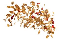 Sweet corn flakes and fruits explosion stock images