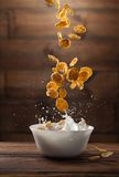 Falling corn flakes with milk splash on wood Stock Photography