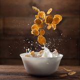 Falling corn flakes with milk splash on wood Royalty Free Stock Photos