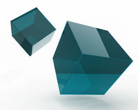 Falling cubes. Pair of two falling cubes made of blue glass over white background Stock Illustration