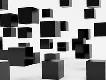 Falling cubes of black colour Stock Image