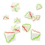 Falling cubes with positive and negative graphs on faces Royalty Free Stock Photos