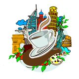 Falling a cup of coffee sticker. Falling a cup of coffee, and famous buildings of the world, vector doodles illustration Stock Photos