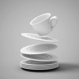 Falling cups and saucers. 3d illustration Stock Images