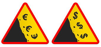 Falling currency. Traffic signs warning for falling currencies royalty free stock photos