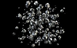 Falling 3D diamonds on black background. Blasting 3D platonic shaped diamonds on black background stock illustration
