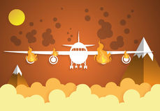 Falling damaged plane in fire with sky.paper art Stock Images