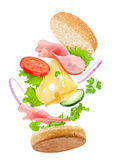 Falling delicious sandwich Royalty Free Stock Photography