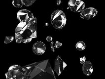Falling diamonds. 3d rendered illustration of many shiny diamonds on a black background vector illustration