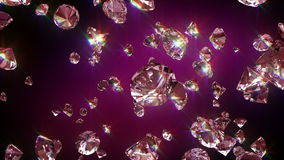 Falling diamonds. 3D animation in FullHD