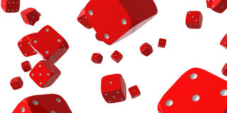 Falling dice. Red falling dice. Abstract. Isolated Stock Images