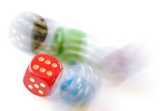 Falling dice Stock Images
