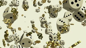 Falling dice and dollar signs on white stock video