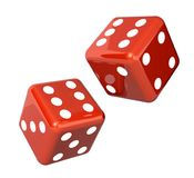 Falling dice for gambling. Falling red dice for gambling.  on white background. 3d render Stock Photos