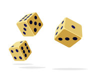 Falling dices. Three falling yellow dices, isolated on a white background Royalty Free Stock Image