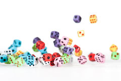 Falling Dices 3. Plenty of falling dices with the front ones in focus stock image