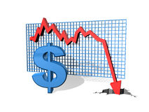 Falling Dollar. Graph showing the falling value of the Dollar stock illustration