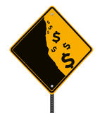 Falling Dollar. A modified road sign on the dollar currency falling off a cliff (isolated with clipping path Royalty Free Stock Photos