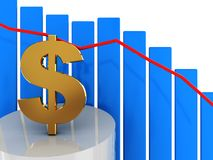 Falling dollar. 3d illustration of down diagram with dollar sign Stock Photos