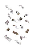 Falling dollar banknotes. Set of flying dollar banknotes isolated on white background Royalty Free Stock Photo